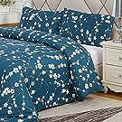 Novali® Ultra Soft Microfiber Printed Duvet Set with 1 Pillowcase - Non-Iron Wrinkle Free Fabric Reversible Quilt Bedding - Corner Ties Zipper Closure Cover 100% Polyester Jasmine Night Single