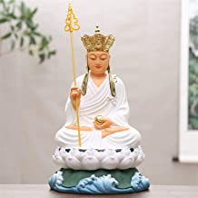PPCP Buddhist Supplies Resin Buddha Glass Steel 16 Inch Gold-Plated Painted Ancient Color Collection 38cm White Tibetan Ki...