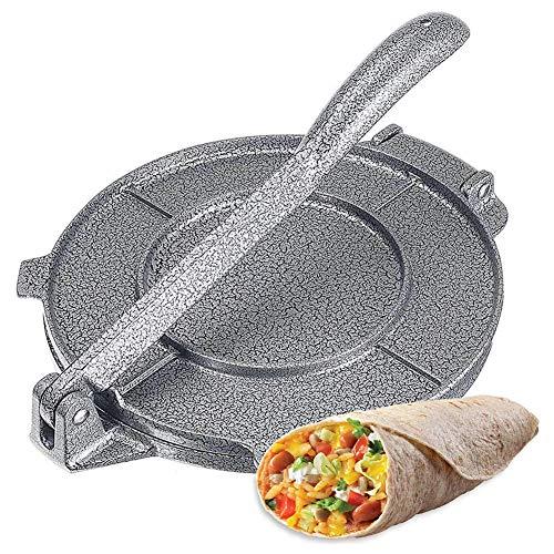Tortilla Presse, 8 Zoll Taco Presse Aus Aluminiumlegierung Antihaft Faltbar Mit Ergonomischem Drehgriff Für Tortillas,Tacos,Burritos,Pizza Und Teig