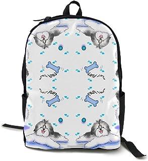 HOJJP Mochila escolar Shih tzu Play Time Canvas Backpack Set Shoulder Bag Bookbag School Bag Travel