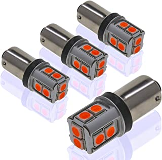DODOFUN CANBUS BA9S Red Extra Bright Car Interior Exterior Replacement Bulb Bayonet Base BA9 53 57 1445 1895 64111 Size Reading Map Dome Side Door Courtesy LED Light 12V 24V (Pack of 4)