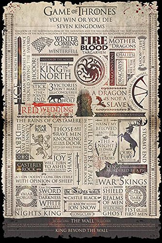 Game of Thrones Poster Infographic (61cm x 91,5cm) + Ü-Poster