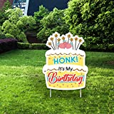 Yangmics Direct Honk, It's My Birthday- Outdoor Lawn Sign - Yard Sign - 1 Piece -Gold (13.5W17.5L)