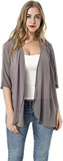 Women's Short Sleeve Beachwear Sheer Chiffon Kimono Cardigan Solid Casual Capes Beach Blouse