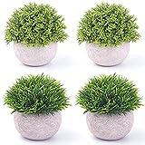 Nrpfell 4 Piezas de Plantas Verdes Artificiales de PláStico en Macetas, Plantas Falsas de Arbustos Topiarios Falsos, VegetacióN de ImitacióN Peque?A, para Ba?O en Casa A