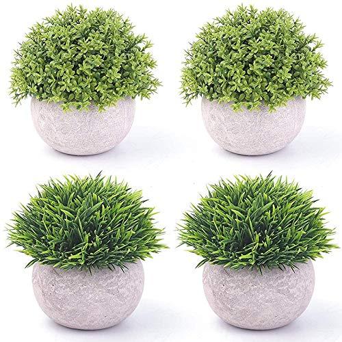 Kirmax 4 Piezas de Plantas Verdes Artificiales de PláStico en Macetas, Plantas Falsas de Arbustos Topiarios Falsos, VegetacióN de ImitacióN PequeeA, para BaaO en Casa A