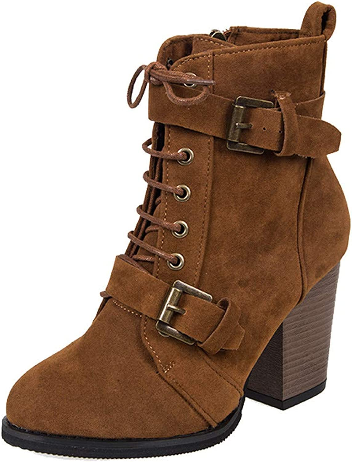 Ladies Fashion Women's Winter Solid color High Heel shoes Casual Lace-Up Suede Sexy Ankle Zipper Martin Boots Keep Warm Round Toe shoes