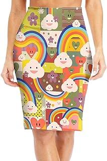 Women's Midi High Waist Skirt Fashion Pencil Skirt Knee Skirts for Office Wear Sloth Lemon