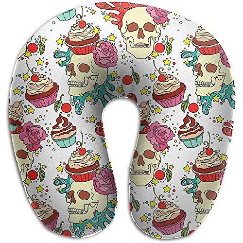 Schädel Cupcake U-förmige Kissen Komfort Nackenkissen Memory Foam Kissen bietet Linderung Unterstützung für Travel Office Home Nackenschmerzen