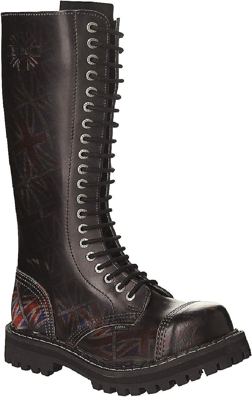 Steel Combat stövlar Unisex herrar Ladies läder svart Union Jack Jack Jack Flags 20 Eyelets Army Punk Toe Cap  inget minimum