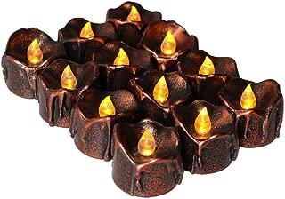 Emopeak Flameless LED Tea Lights 12 PCS, Festival Decoration Tea Light Brown LED Candles for Halloween, Christmas, Thanksgiving, Birthday Party, Wedding, Birthday, Amber Yellow Light Bulb