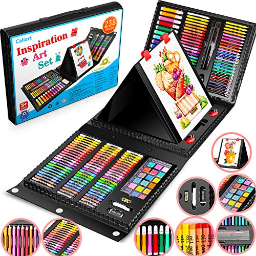 Caliart 238 Pack Art Set, Deluxe Art Supplies Painting Coloring Set Craft Kids' Drawing Kits, Portable Art Case Gift for Adults Artists Beginners Girls Boys Kids 5-9-12, with Oil Pastel, Crayon etc