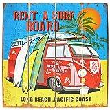 【ハワイアン ウッド サインボード ワーゲンバス&サーフボード】LONG BEACH/WB16001 サーフィン メッセージ看板 木製看板 案内看板 アメリカ看板 看板 ガレージアメリカン雑貨 ハワイアン雑貨 サーフ