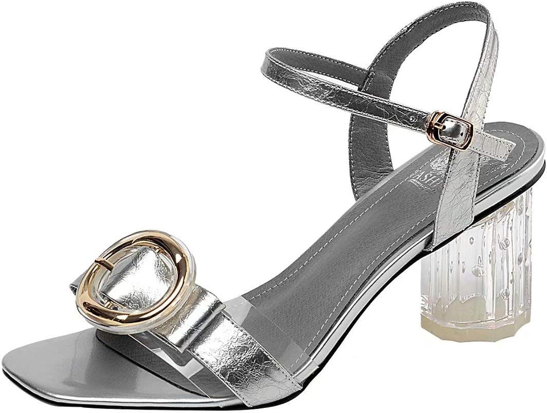 JYschuhe High Heels Riemchen Sandalen mit Transparentem Absatz Absatz Absatz Riemchensandalen Damen Blockabsatz Sandaletten mit Schnalle 136