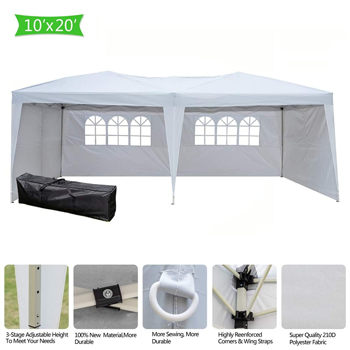 Teekland 10'x20' Outdoor Canopy Party Wedding Tent,Heavy Duty Pop-up Canopy Tent,Instant Canopy Tent,Practical Waterproof Folding Tent with Carry Bag