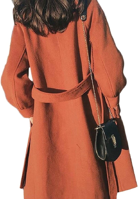 LEISHOP Womens Overcoat Hepburn Woolen Lapel Mid Long Jacket with Belt