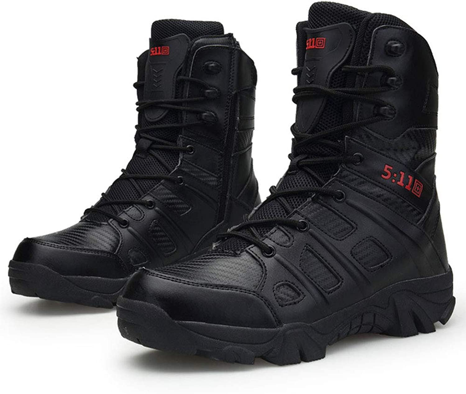 Military Army Tactical Boots Sports Camping Hiking Combat Lace Up Breathable High Top Side Zipper Desert Leather shoes Men Outdoor