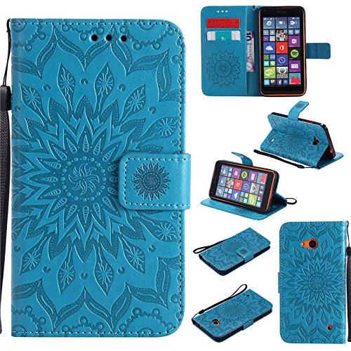 kelman Handyhülle für Nokia Lumia 640 (5.0') Hülle Schutzhülle 3D Sonnenblume PU Leder + Soft Silikon TPU Innere Schale Mode Prägung Brieftasche Flip - [Blau]
