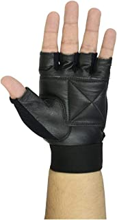 Weight Lifting Gloves with Small Strap in Leather Black Color