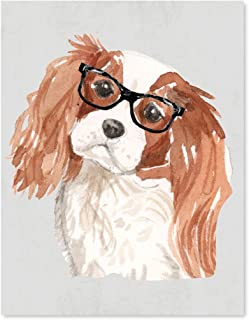 Andaz Press Dog Wall Art Print Poster, 8.5x11-inch, Cavalier King Charles Spaniel in Black Glasses, 1-Pack, Christmas Birthday Gift, Unframed