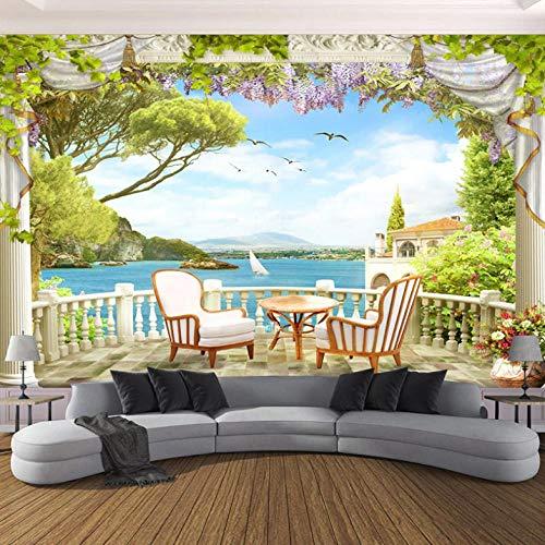 Lllyzz 3D-behang, personaliseerbaar, voor balkon, landschap, kust, wand, woonkamer, tv, bank, eettafel, achtergrond, decoratie voor wand, achtergrond - 280 x 200 cm