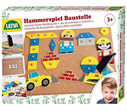 Lena 65828 Hammerspiel, Nagelspiel mit 64 bunten 8 Baustellen Teilen, Grundplatte aus Kork ca. 28 x 19,5 cm, Hammer und Nägel, Klopfspiel für Kinder ab 3 Jahre, Hämmerchenspiel, Mehrfarbig