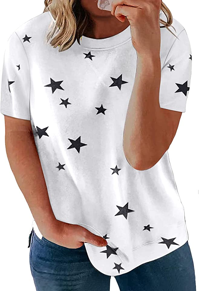 Happy Sailed Womens Plus Size Tops Summer Short Sleeve Round Neck Loose Casual Tee T-Shirt(1X-5X)