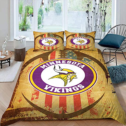 American Football League Team Logo Microfiber Duvet Cover Set King Size 3PCS, Min-nesota-Viki-ngs Bedding Sets 3 Size Washed Microfiber