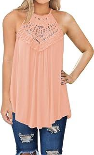 7c3edd142f0daa MIHOLL Womens Summer Casual Sleeveless Tops Lace Flowy Loose Shirts Tank  Tops