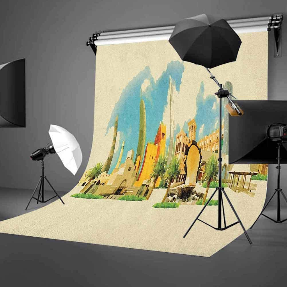 8x12 FT European Vinyl Photography Backdrop,Old Cathedral and Royal Palace in Madrid Mediterrenean City Europe Urban Print Background for Party Home Decor Outdoorsy Theme Shoot Props