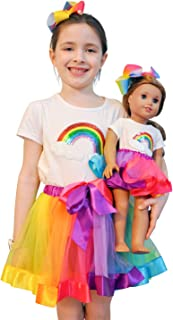 ZITA ELEMENT Rainbow Clothes and Hair Accessories for American 18 Inch Girl Doll Matching Girls Outfits - 2 Cotton Shirts with Sequins Rainbow, 2 Rainbow Tutu Skirts and 2 Bow Hair Clips