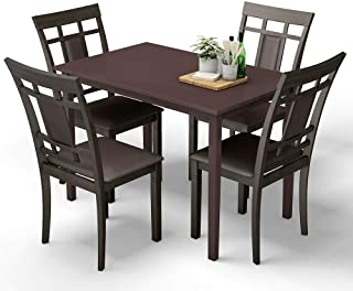 Thaweesuk Shop New Dark Brown 5Pcs Mid Century Modern Dining Table 4 Upholstered Chairs Home Kitchen Table: MDF Tabletop Pine Wood Legs Chair: Wood PU Sponge Table: 43.5''x27.5''x30'' (W×D×H) of Set