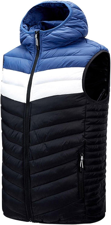 Huangse Men's Lightweight Puffer Hooded Vest Warm Outdoor Sleeveless Jacket for Hiking Travel Running