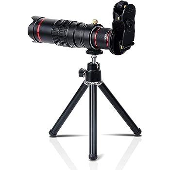 高画質 スマホ望遠レンズ クリップ式レンズ iphone galaxy Android タブレットなど対応 単眼鏡として使える 三脚付き (ブラック)