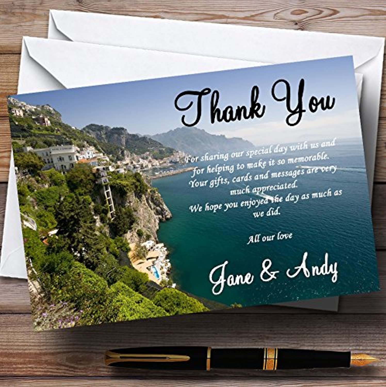 Sorrento  Abroad Personalised Wedding Stationery Thank You Cards
