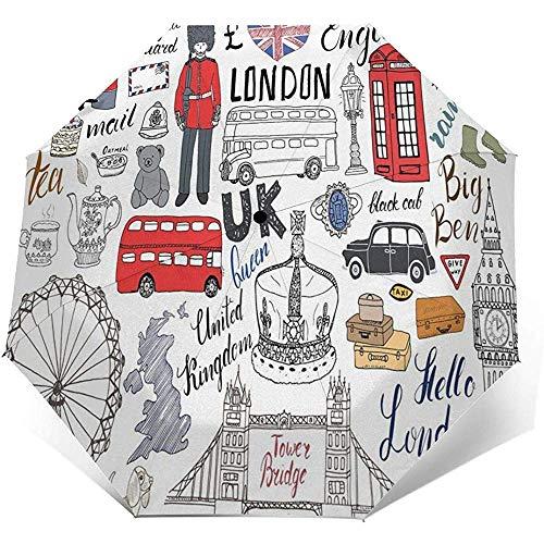 Love London Bus Telephone Booth Cab Travel Umbrella Sun Umbrella-Lightweight Windproof Sunscreen Umbrella-Auto Open and Close Button