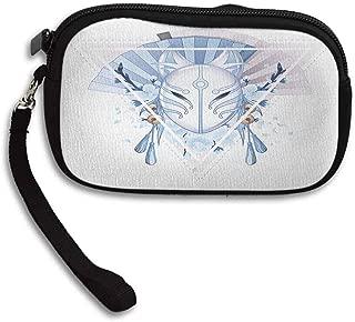 Kabuki Mask Wallets Fox Mask Kitsune Japan Culture Theme with Triangle Sakura Flowers W 5.9
