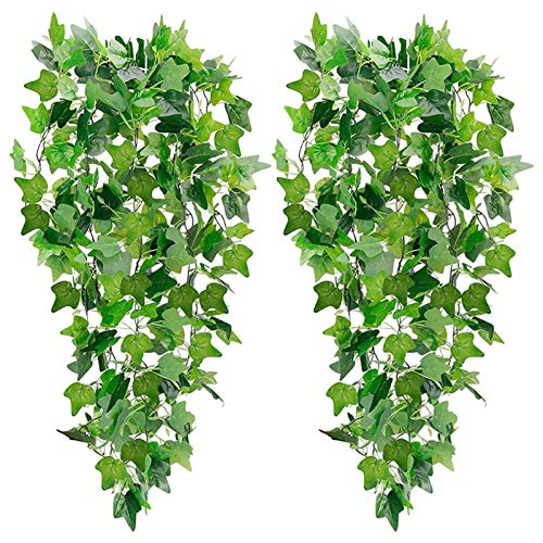 Bestomrogh 2 Pack Artificial Hanging Plants, Ivy Vine Plastic Trailing Weeping Greenery Drooping Plant for Wedding Wall Outdoor Hanging Planter Fence Trellis(Ivy)