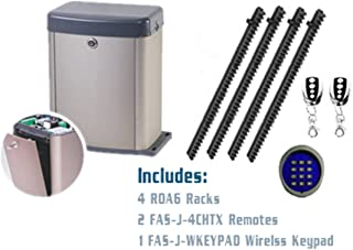 FAS J-Slider&P300BBU Slide Gate Opener (Rack and Pinion) 4 ROA6 Racks, Two FAS-J-4CHTX Remotes and One FAS-J-WKEYPAD Wireless Keypad