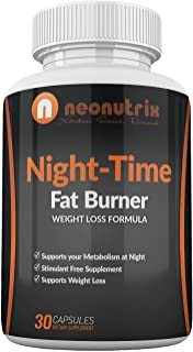 Night-Time Fat Burner Formula – Weight Loss Capsules for Men/Women, Amino-Acids Based Nocturnal Dietary Supplement, Stimulates Metabolism, Promotes REM Sleep, 30 Capsules – Made in USA by Neonutrix