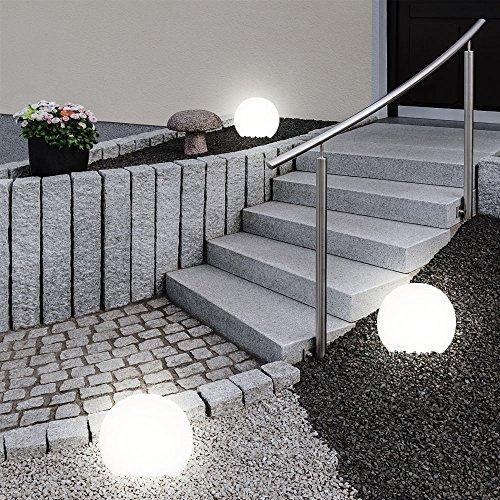 3er Set LED Außen Solar Lampen Kugel Design Erd Spieß Steck Leuchten Garten Weg Beleuchtung