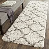 Safavieh Hudson Shag Collection SGH282A Moroccan Trellis 2-inch Thick Runner, 2' 3' x 6', Ivory/Grey