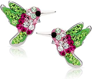 BLING BIJOUX Colorful Crystal Hummingbird Earrings Never Rust 925 Sterling Silver Natural and Hypoallergenic Studs For Wom...