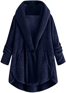 Lataw Women Plus Size Coat Stylish Button Plush Tops Plush Solid Hooded Loose Cardigan Wool Long Winter Jacket Overcoats