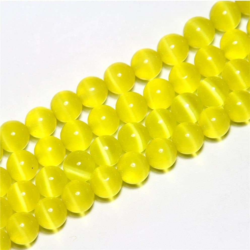 10mm Round Yellow Cat Eye Beads Loose Gemstone Beads for Jewelry Making Strand 15 inch (38-40pcs)