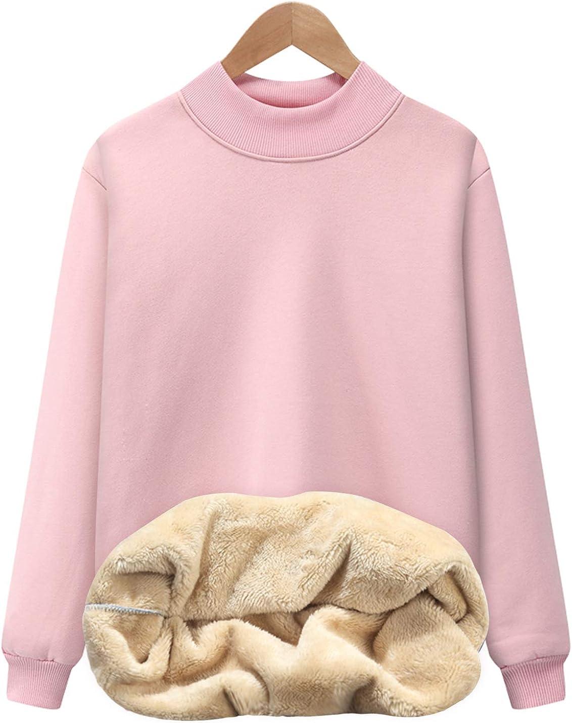 Flygo Women's Girls Warm Fleece Sherpa Lined High Neck Pullover Sweatshirt
