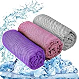 YQXCC Cooling Towel 3 Pcs (47'x12') Microfiber Towel for Instant Cooling Relief, Cool Cold Towel for Yoga Golf Travel Gym Sports Camping Football & Outdoor Sports (Pink/Light Gray/Purple)