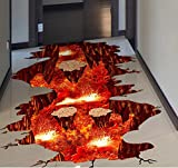 HALLOBO® XXL Wandtattoo Bodenaufkleber Vulkan Volcano Magma Wandaufkleber Wandbild Wohnzimmer Schlafzimmer Kinderzimmer Deko