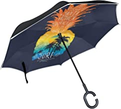 MAOXUXIN Palm Tree Surf Pineapple Inverted Umbrella, Large Double Layer Outdoor Rain Sun Car Reversible Umbrella