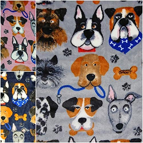 DIE NÄHZWERGE Double-Face Superflausch Hunderassen - Meterware ab 50cm, in 3 Farben | Wellness-Fleece Softplüsch Microfleece – Pfoten Knochen Dogs (grau)